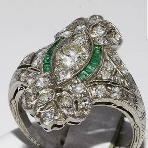 Authentic Art Deco Platinum Diamond Emerald Ring